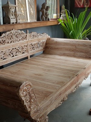 Balinese Daybed Whitewashed Teak 270x120x110cm with rolled arms. Handcarved by Balinese craftsmen and women for your enjoyment and relaxation.