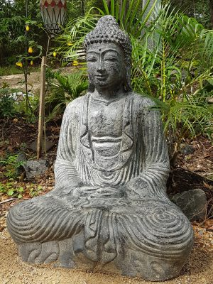 Buddha Statue - 100x70x50cm This Buddha will add serenity to any space! Fibre cement Statues are sturdy in the garden, able to be moved by two people.