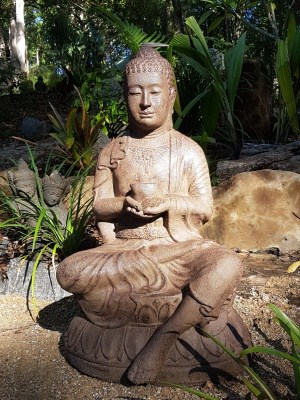Buddha sitting - 80x45x40cm-made from (GRC) a stone composite material. Sturdy in the garden but able to be moved by two people.
