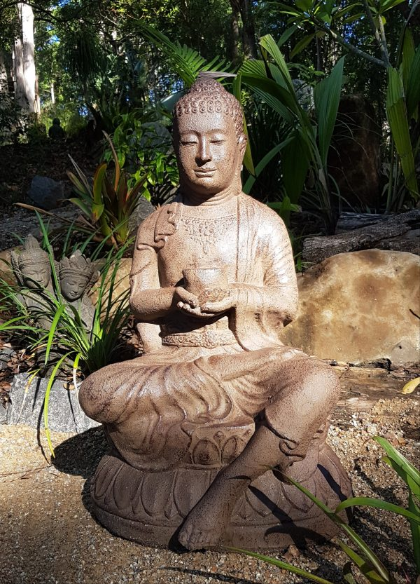 Buddha sitting - 80x45x40cmFibre cement Statues are lightweight for interiors and outdoor design. Sturdy in the garden but able to be moved by two people.
