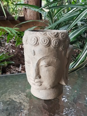 Buddha Head Plant Pot - 20x15x15cm. Handcrafted in volcanic ash and concrete by our Balinese craftsmen and women. Perfect for your patio or garden.
