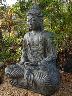 Buddha Statue - 100x70x50cm - made from (GRC) a stone composite material. Sturdy in the garden and able to be moved by two people.