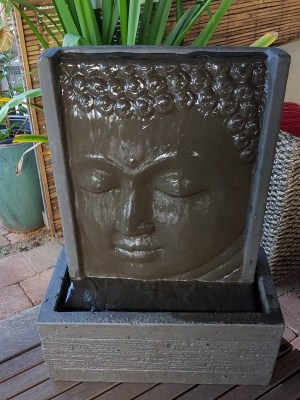 Buddha water feature 45x20x35cm Great for smaller gardens and apartments.Add a 12 volt water pump to enjoy the gentle calming sound of water