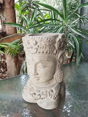 Lady Tara Buddha Head Plant Pot - 25x15x15cm. Handcrafted in volcanic ash and concreteby our Balinese craftsmen and women. Perfect for your patio or garden.