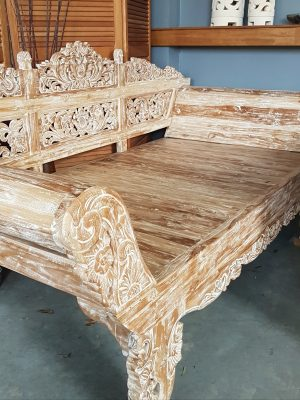 Balinese Daybed Handcarved Whitewashed Teak 230x100x110cm with rolled arms. Created by Balinese craftsmen and women for your enjoyment and relaxation.