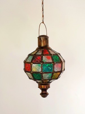 Round Cafe Light COLOURED - Glass and Brass- 30x20cm - handcrafted in Bali will not rust. Each light has a large door on the side for access.
