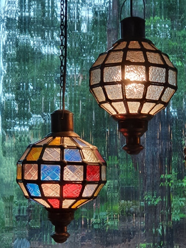 Round Cafe Lights - Glass and Brass- 30x20cm - handcrafted in Bali will not rust. Each light has a large door on the side for access.