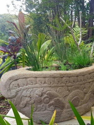 Handcarved Water feature or Planter CPS80 - 45cm x 45cm x 105cmis carved from a blend of Balinese limestone and concrete by the Balinese.