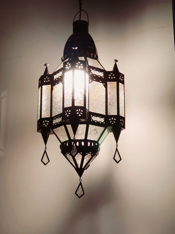 Moroccan style Light or Lantern - Glass and Brass pendant lights handcrafted in Bali will not rust - large door on the side for access.
