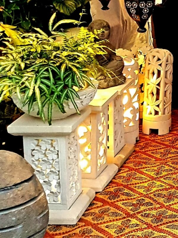 Stone Pedestals from CasaPandan - Perfect for a plant or statue indoors or outdoors. With an access hole through the bottom for power.