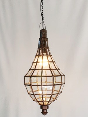 Moroccan Style Teardrop Light or Lantern - Glass and Brass- 60x30cm - handcrafted in Bali will not rust - a large door on the side for access.